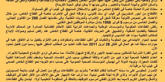 الرباط : بيان العصبة المغربية للدفاع عن حقوق الإنسان