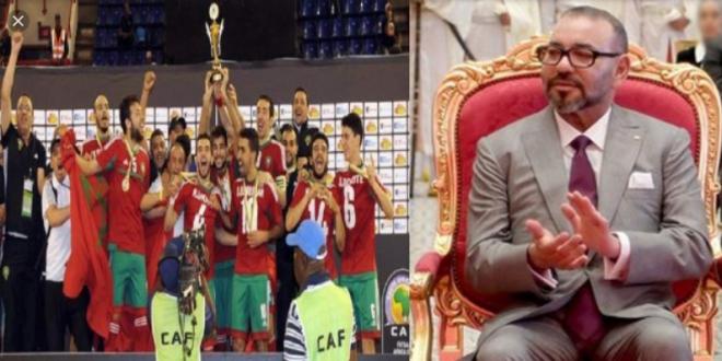 <h1>       الملك محمد السادس يبعث برقية تهنئة لأعضاء المنتخب الوطني لكرة القدم داخل القاعة.         <h1/>