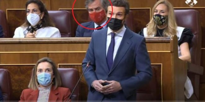 <h1> اسبانيا …….  المغرب يتمدد بقوة إلى الداخل الإسباني ، وانطونيو غونزاليس يخلق المفاجأة داخل البرلمان الاسباني بارتداءه الكمامة المغربية ….   <h1/>